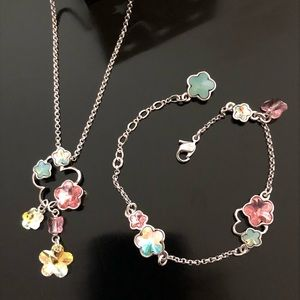 Swarovski Butterfly Flower Bracelet/Necklace Set
